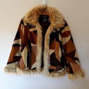 Vintage leather patchwork coat